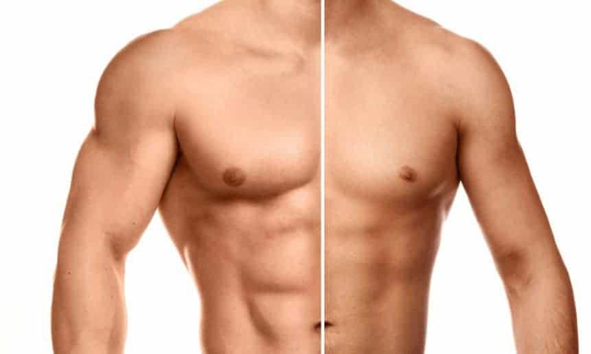 תמונה חצויה של חצי גוף שרירי וחצי גוף רזה