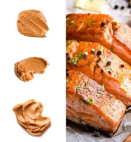 תמונה עם דג סלמון בחצי ימין וחצי שמאל חמאת בוטנים