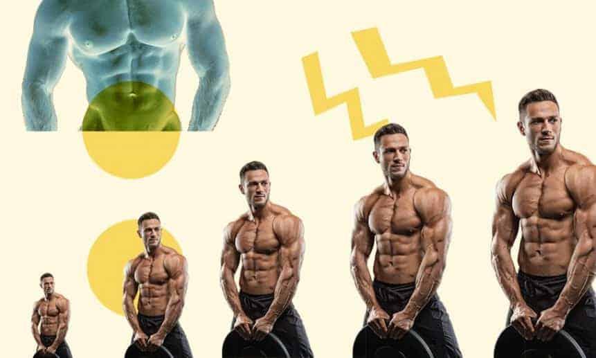 גבר חטוב בלי חולצה מכווץ את השרירים