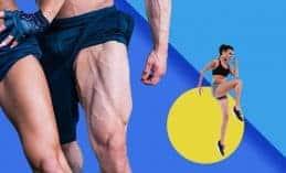 אימון רגליים, אישה קופצת וגבר ואישה מראים את השרירים שלהם