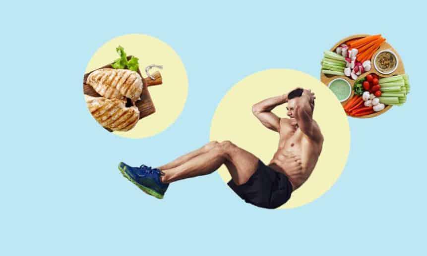 גבר עושה שכיבות סמיכה עם מאכלי חלבון, עוף וירקות